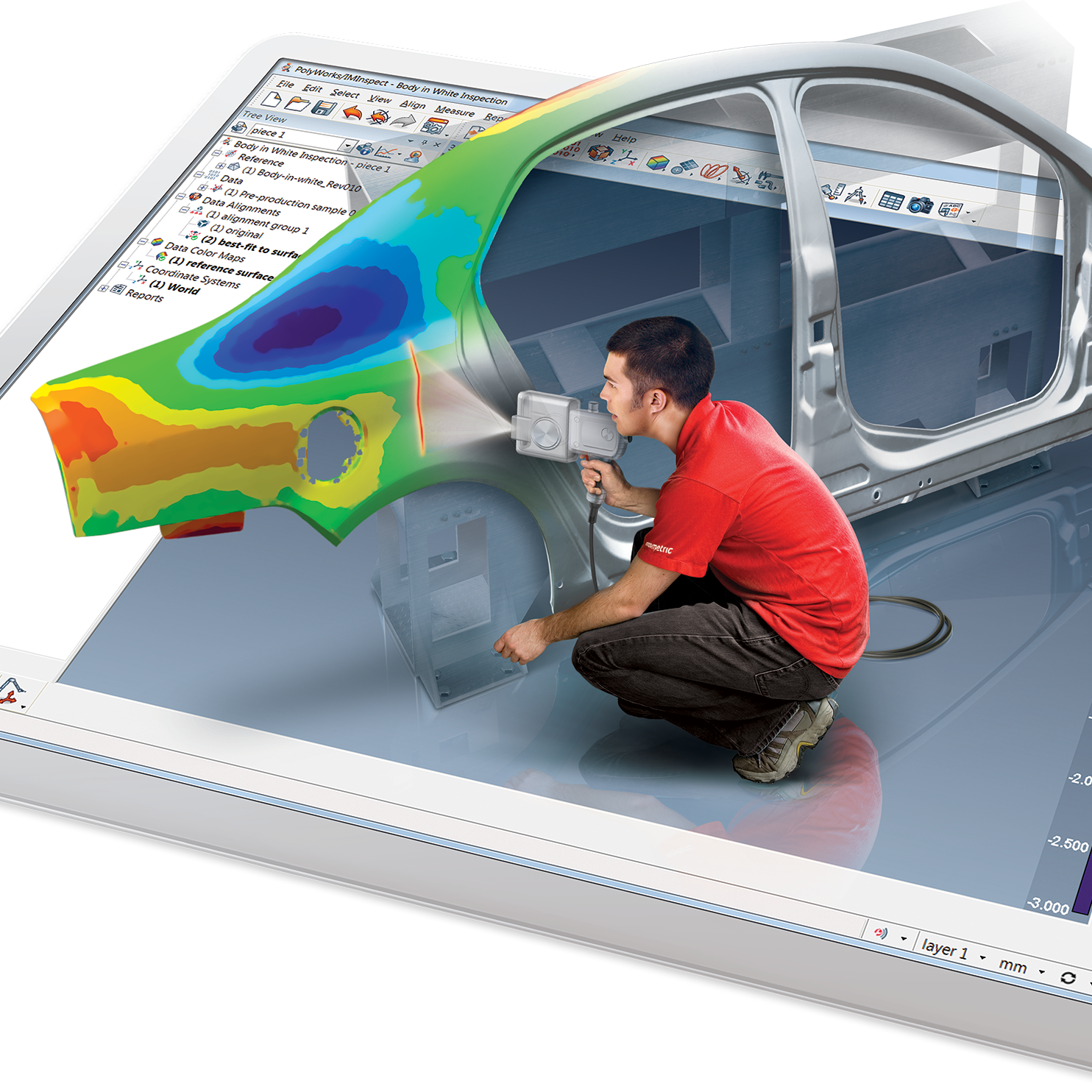 With the ability to take scan data and overlay it to existing CAD we are able to provide accurate and effective 'colour map' deviation reports!